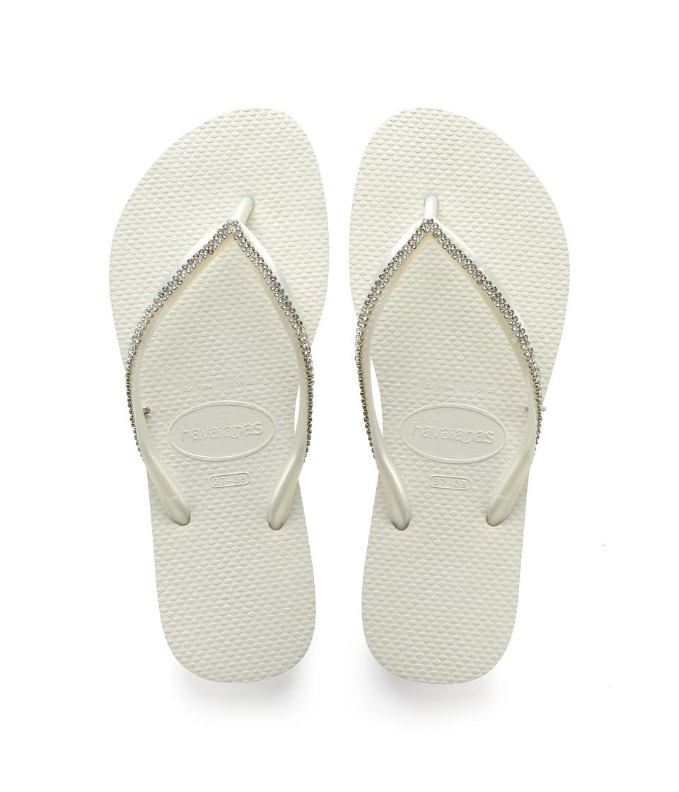 Havaianas - Slim Crystal Mesh II Flip Flops (White) Women's Sandals