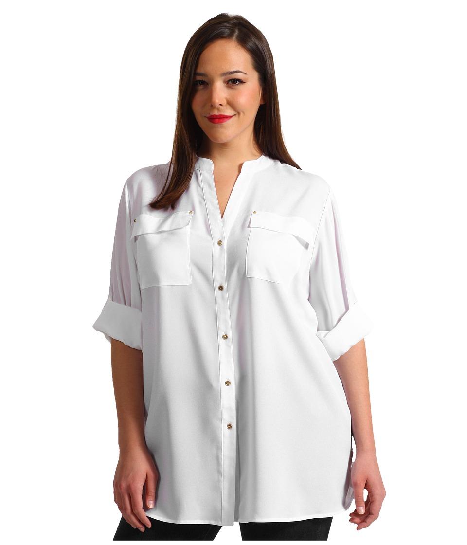 Calvin Klein Plus - Plus Size Crew Roll Sleeve Blouse (Soft White) Women's Blouse plus size,  plus size fashion plus size appare