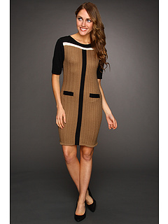 SALE! $39.99 - Save $89 on Tahari by ASL Petite Jenlee Dress (Tan Black Brown) Apparel - 69.00% OFF $129.00