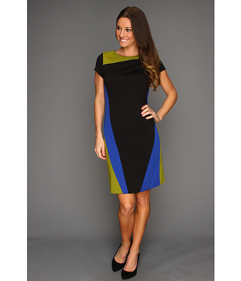 Ellen Tracy - Ponte Short Sleeve Colorblock Dress (Black/Blue) Women's Dress