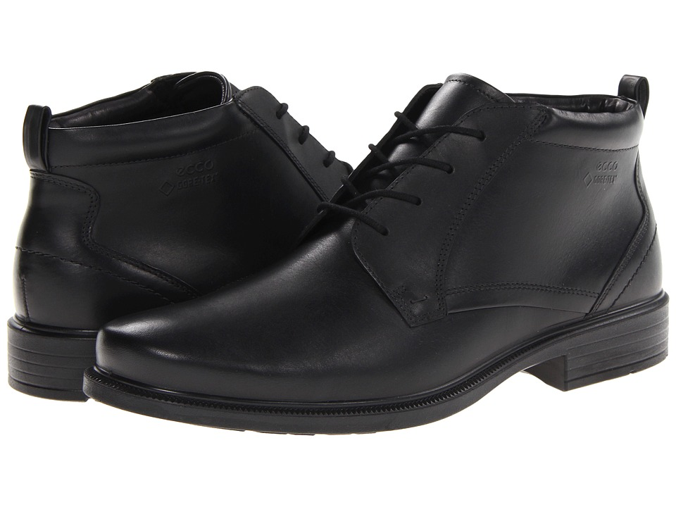 ECCO - Dublin Plain Toe Tie Boot GTX (Black Luxe) Men