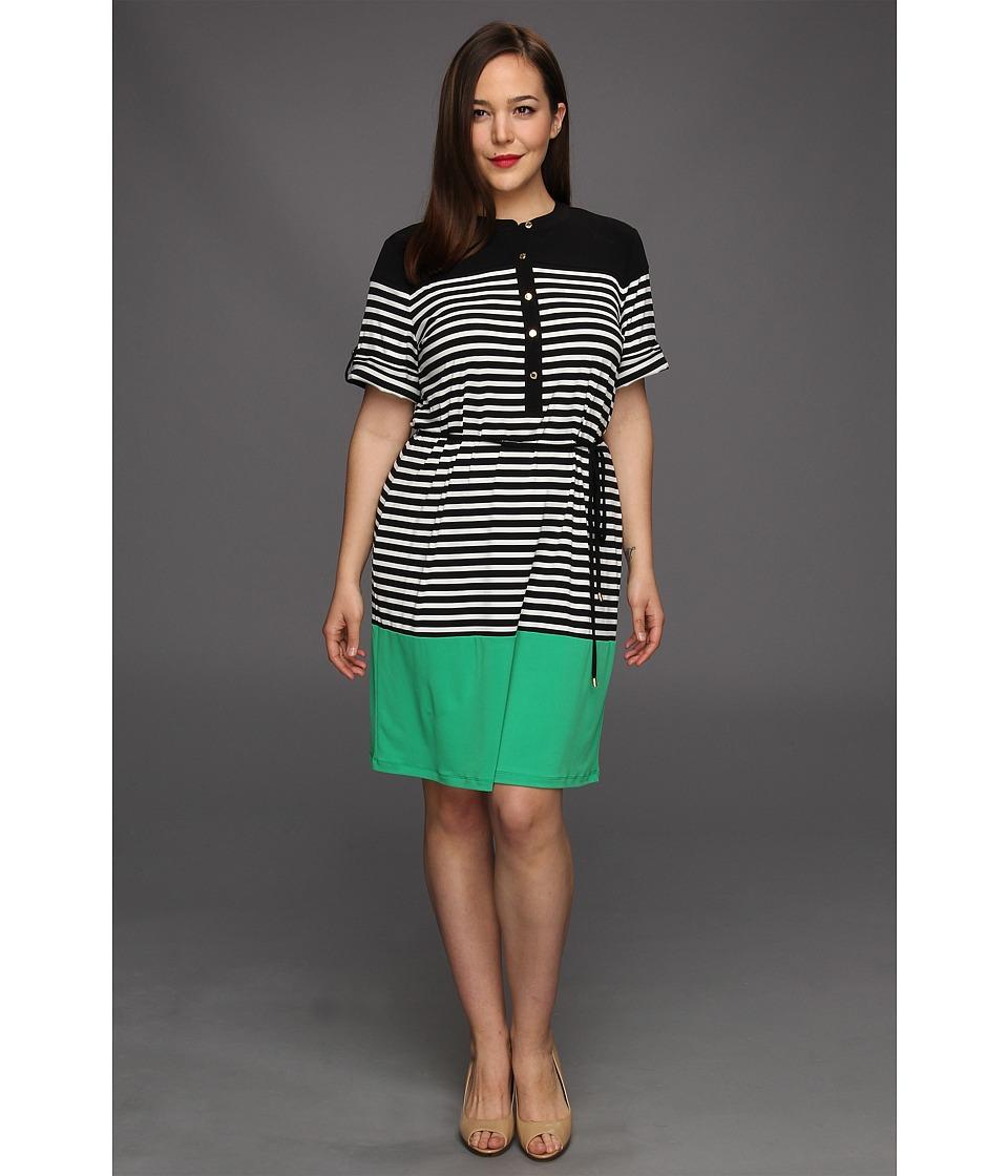 Calvin Klein Plus Size Color Block Shirt Dress Womens Dress (Green)