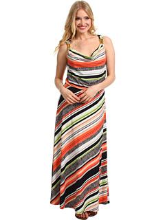 SALE! $64.99 - Save $65 on Calvin Klein Vintage Stripe Maxi Dress w Hardware (Porcelain Rose Bellini Black) Apparel - 49.81% OFF $129.50
