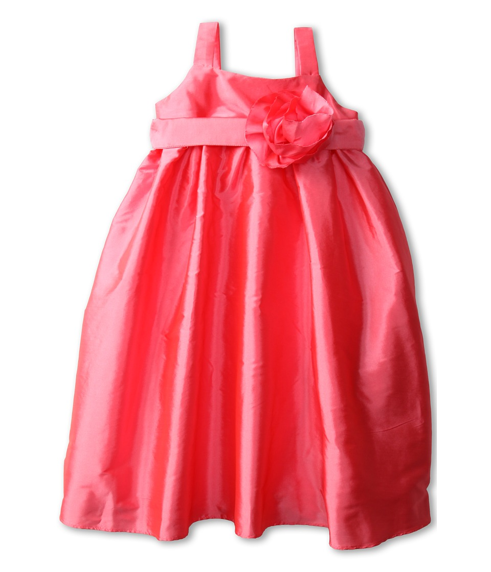 Us Angels - Empire Dress w/ Sash and Fabric Flower (Toddler) (Brite Pink) Girl