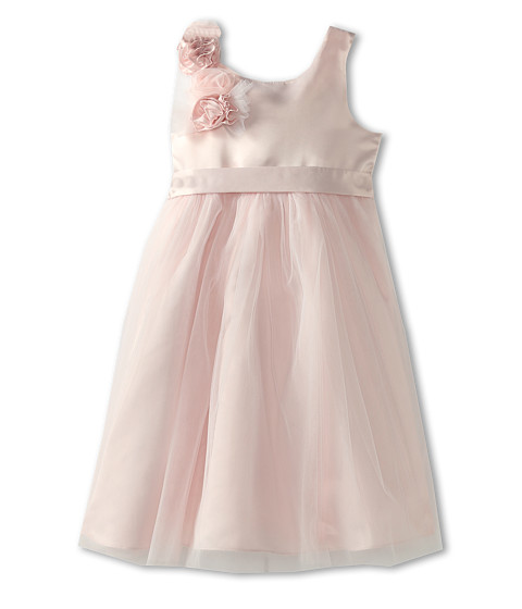 Us Angels - Empire Dress w/ Cascade of Rosettes (Little Kids) (Blush Pink) Girl's Dress