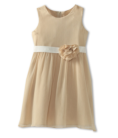 Us Angels - Chiffon Tank Dress w/ Ivory Belt (Little Kids) (Champagne) Girl