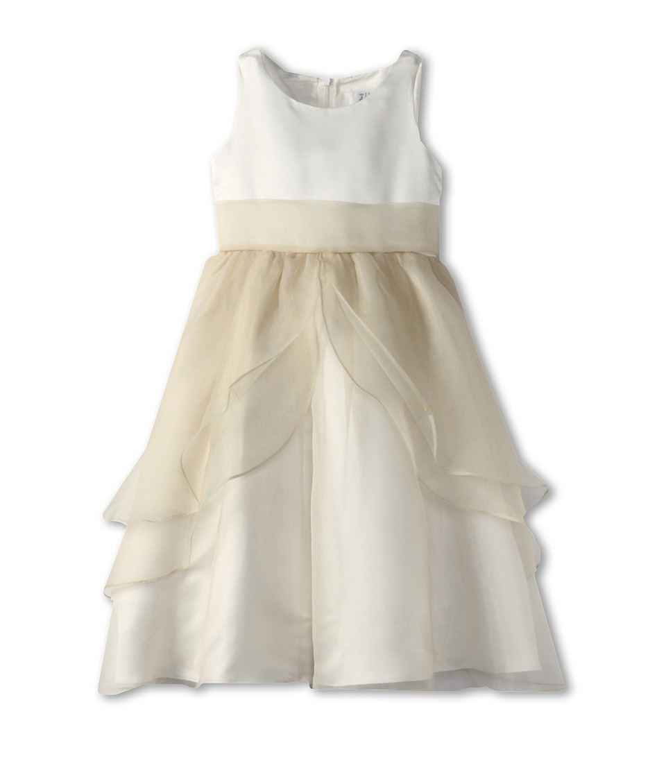Us Angels - Tank Top Dress w/ Layers of Organza Skirt (Little Kids) (Ivory/Champagne) Girl's Dress