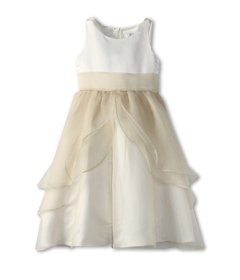 Us Angels - Tank Top Dress w/ Layers of Organza Skirt (Little Kids) (Ivory/Champagne) Girl