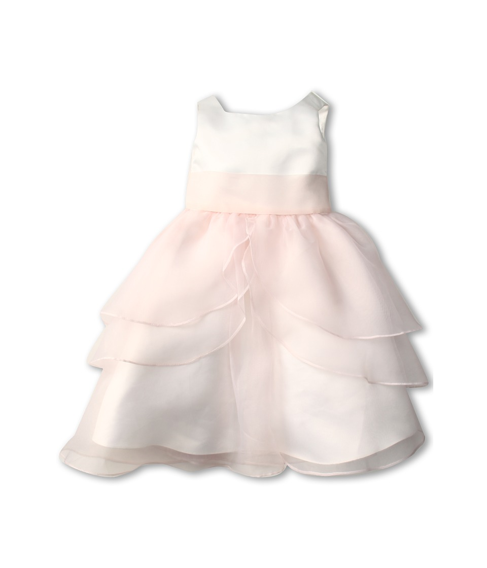 Us Angels - Tank Top Dress w/ Layers of Organza Skirt (Little Kids) (Ivory/Blush Pink) Girl