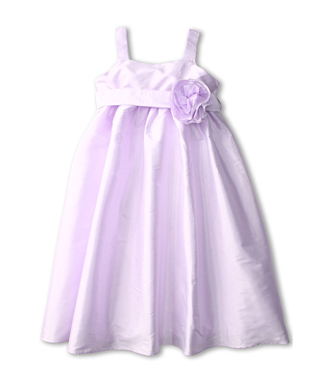 Us Angels - Empire Dress w/ Sash of Fabric Flowers (Little Kids) (Lavendar) Girl