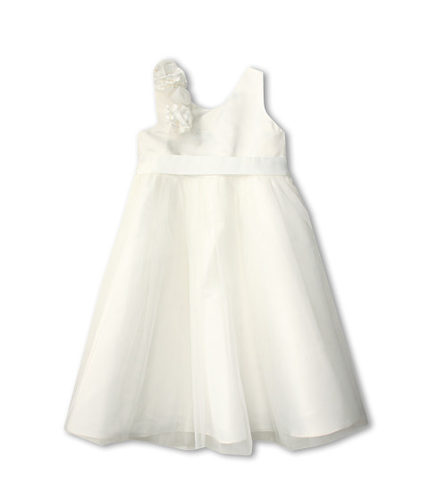 Us Angels - Empire Dress w/ Cascade of Rossettes (Big Kids) (Ivory) Girl
