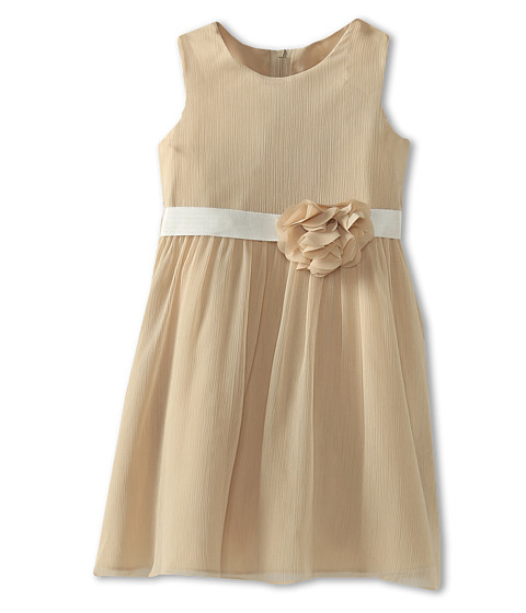 Us Angels - Chiffon Tank Dress w/ Ivory Belt (Big Kids) (Champagne) Girl