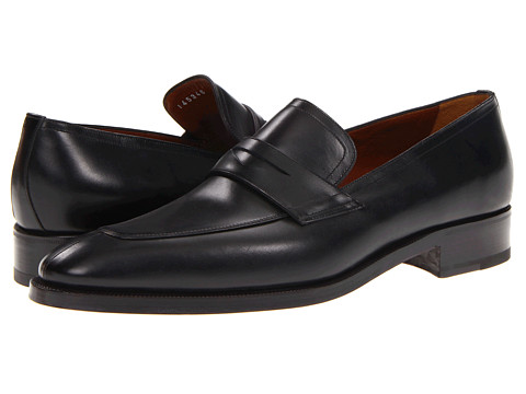 a. testoni - Dress Slip On Calf Penny (Lux Nero) Men's Slip-on Dress Shoes