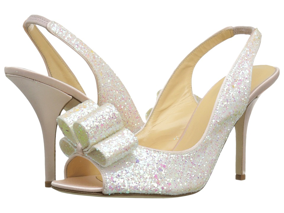 Kate Spade New York - Charm Heel (White Multi Glitter/Rose Petal Pink Satin) High Heels