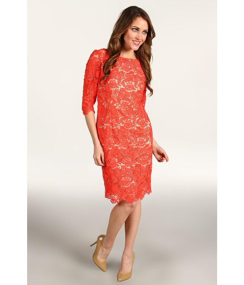 Eliza J - Three Quarter Sleeve Lace Sheath Dress (Coral) Women's Dress
