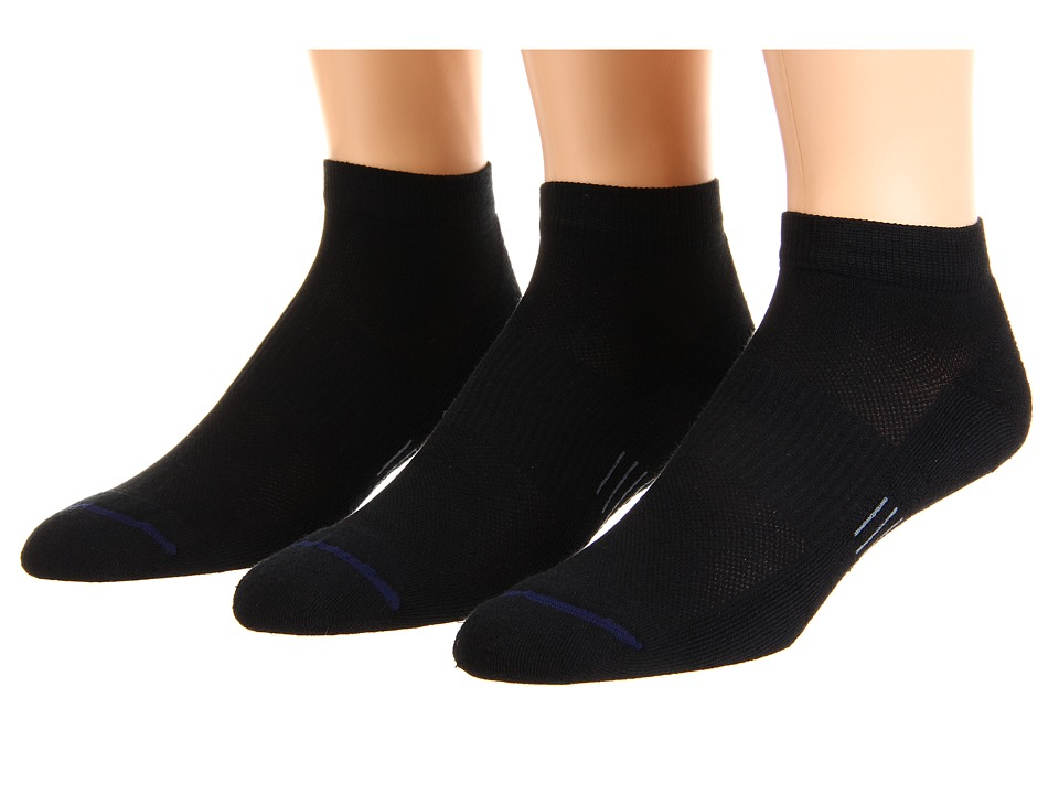 Wrightsock - Spirit Lo 3-Pair Pack (Black) Low Cut Socks Shoes