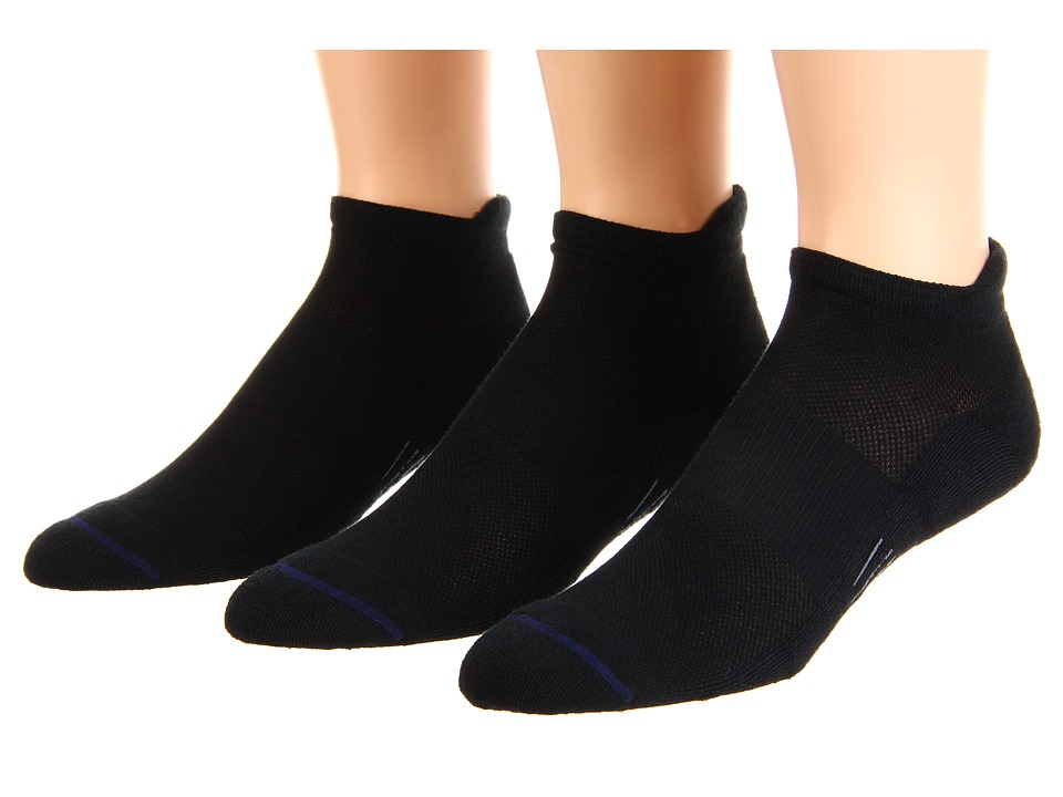 Wrightsock - Spirit Tab 3-Pair Pack (Black) Low Cut Socks Shoes