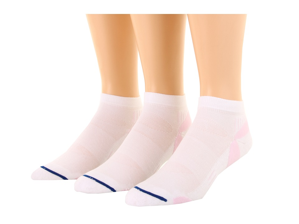 Wrightsock - Velocity Lo 3-Pair Pack (White/Pink) Low Cut Socks Shoes