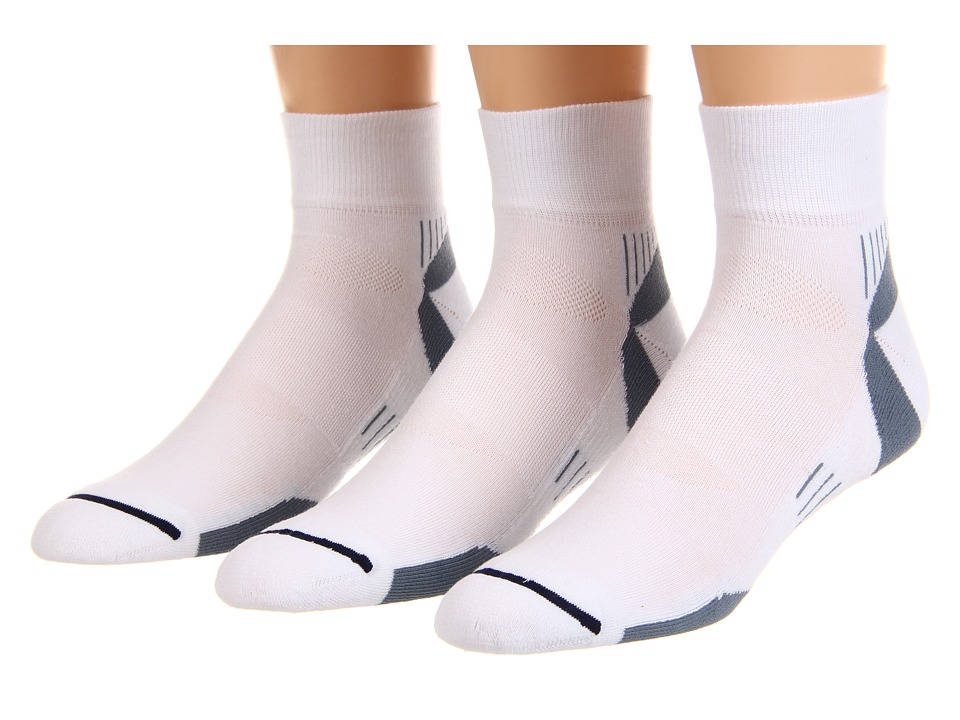 Wrightsock - Velocity Qtr 3-Pair Pack (White/Grey) Quarter Length Socks Shoes