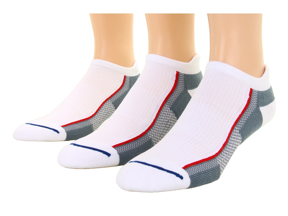 Wrightsock - XFit Tab 3-Pair Pack (White/Grey) Low Cut Socks Shoes