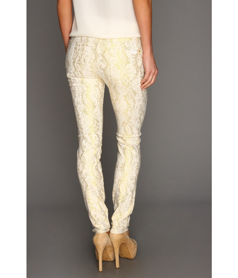 7 For All Mankind - The Skinny in White w/ Gold Jacquard Snake (White/Gold Jacquard Snake) Women's Jeans