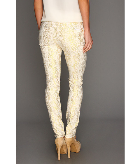 7 For All Mankind - The Skinny in White w/ Gold Jacquard Snake (White/Gold Jacquard Snake) Women