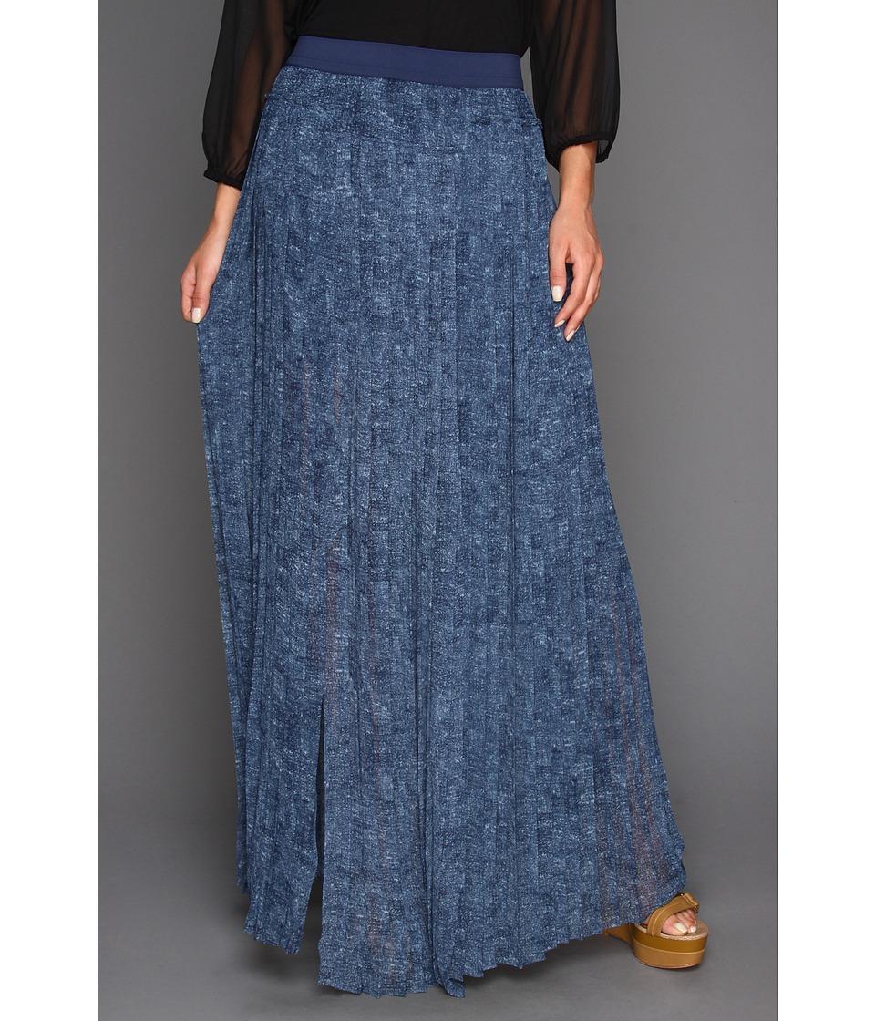 BCBGMAXAZRIA Print Dillion Paneled Pleated Skirt Womens Skirt (Blue)