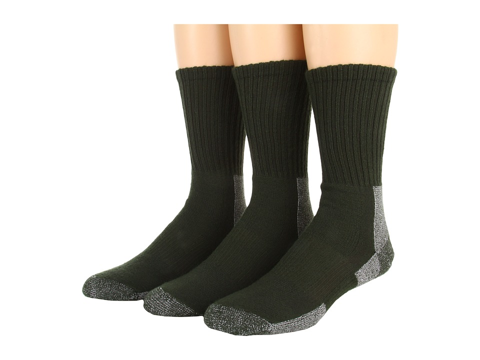 Thorlos - Trail Hiking Crew 3 Pair Pack (Forest Green) Men's Crew Cut Socks Shoes