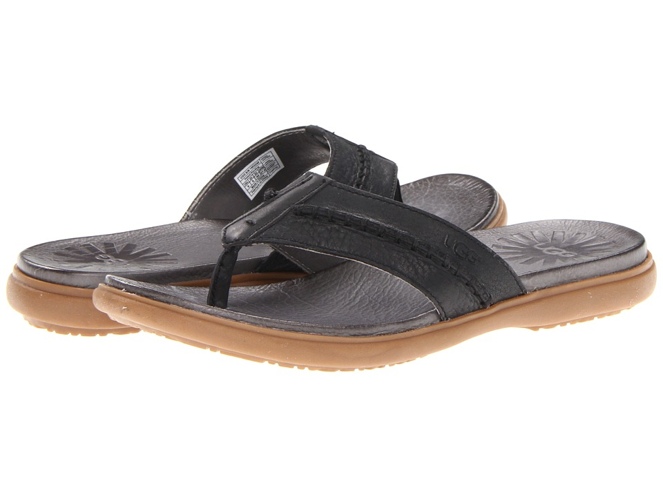 UGG - Hegger (Black Leather) Men's Sandals