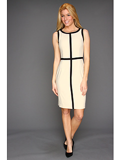 SALE! $44.8 - Save $83 on Calvin Klein Sheath Dress with Contrast Trim (Bone) Apparel - 65.00% OFF $128.00