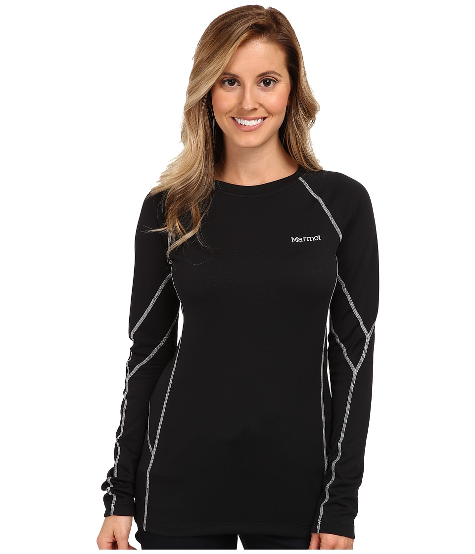 Marmot - ThermalClime Sport L/S Crew (Black) Women's Long Sleeve Pullover