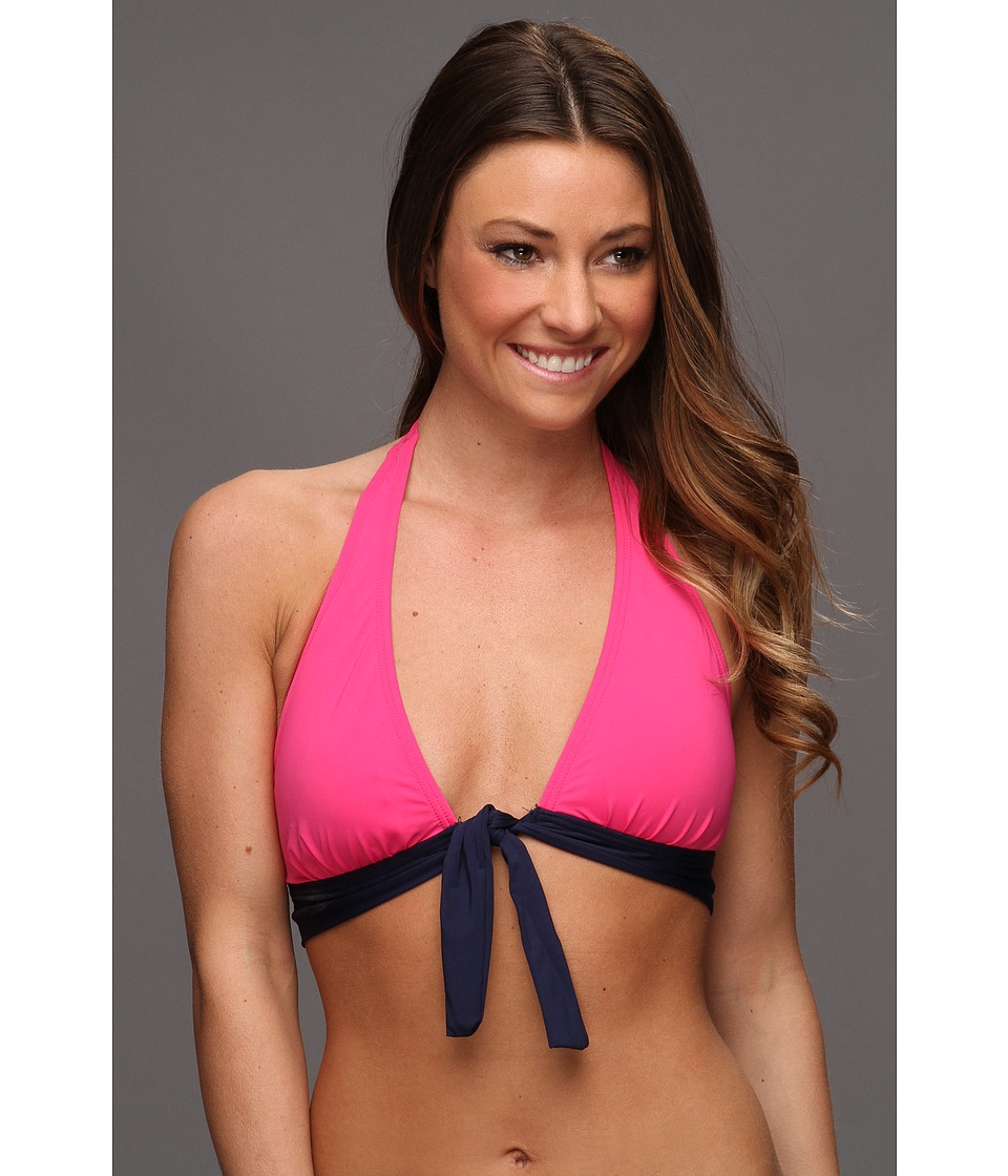 Tommy Bahama - Deck Piping Halter Bikini Top with Shirred Band and Tie (Pink Martini/Mare) Women