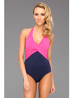 SALE! $54.99 - Save $79 on Tommy Bahama Deck Piping V Neck Halter Cup Wrapped One Piece (Pink Martini Mare) Apparel - 58.96% OFF $134.00
