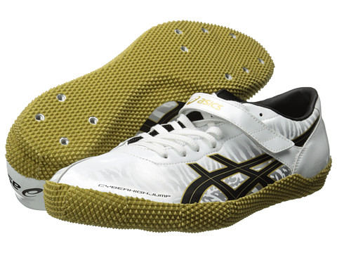 ASICS - Cyber Hi-Jump London L (White/Black/Gold) Running Shoes