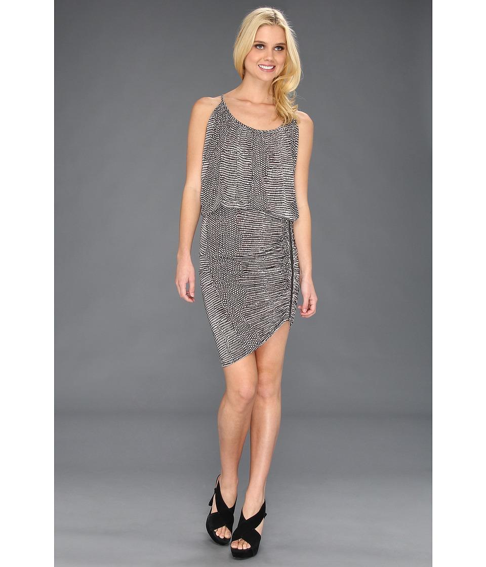 BCBGMAXAZRIA Doris Drape Round Neck Dress Womens Dress (Multi)