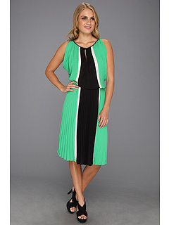 SALE! $86.99 - Save $211 on BCBGMAXAZRIA Iona Color Blocked Dress w Pleated Skirt (Evergreen Combo) Apparel - 70.81% OFF $298.00