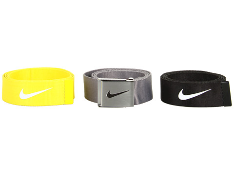 Nike - Neon 3 Web Pack (Grey, Neon Yellow, Black) Belts