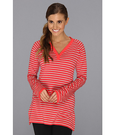 Columbia - Real Beauty Long Sleeve V-Neck (Red Hibiscus Stripe) Women's Long Sleeve Pullover