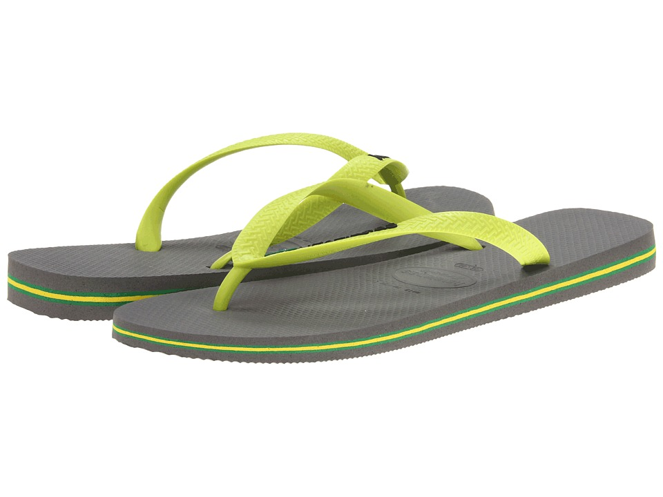 Havaianas - Brazil Logo Flip Flops (Grey/Lime Green) Men's Sandals