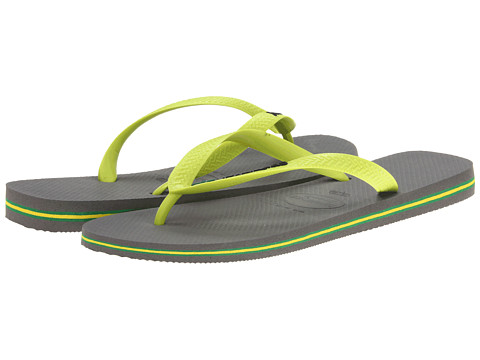 Havaianas - Brazil Logo Flip Flops (Grey/Lime Green) Men
