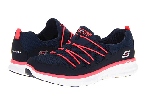 SKECHERS - Synergy - Loving Life (Navy/Coral) Women's Slip on Shoes