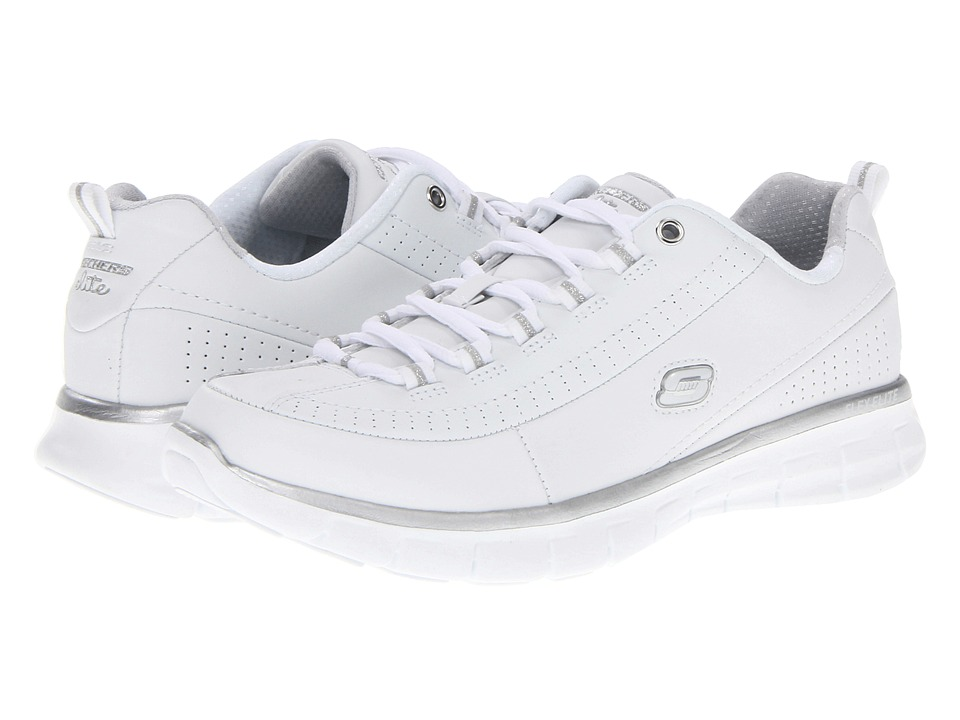 SKECHERS - Synergy - Elite Status (White/Silver) Women's Lace up casual Shoes
