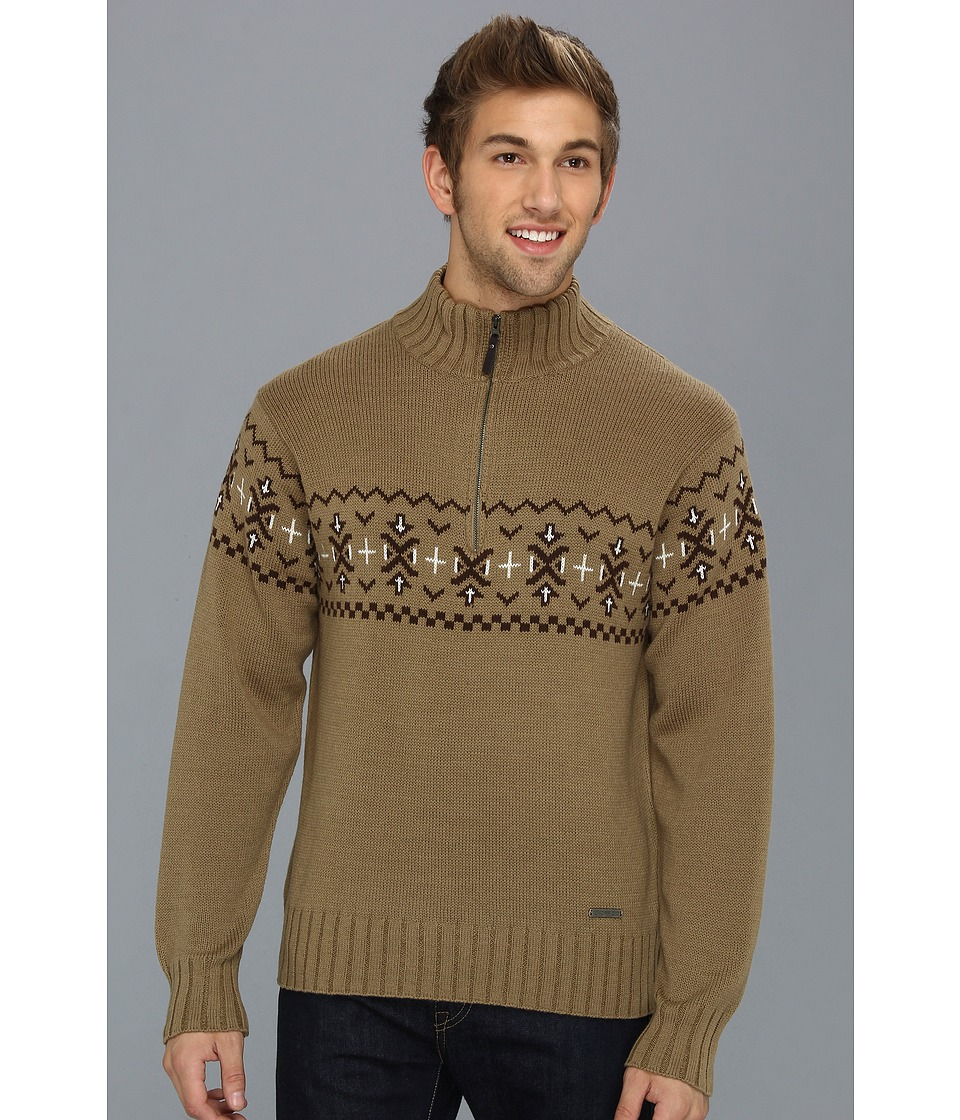 ExOfficio - Cafenisto 1/4 Zip Jacquard Sweater (Walnut) Men's Sweater
