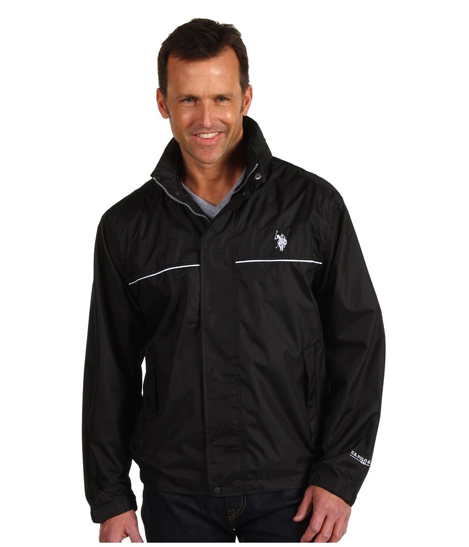 U.S. POLO ASSN. - Windbreaker with Piping (Black) Men's Coat