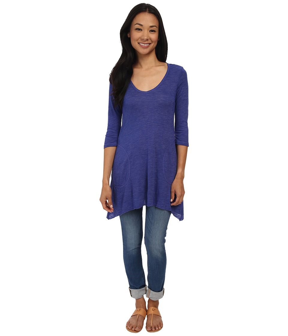 Allen Allen - Slub Angled 3/4 Tunic (New Blue) Women's T Shirt
