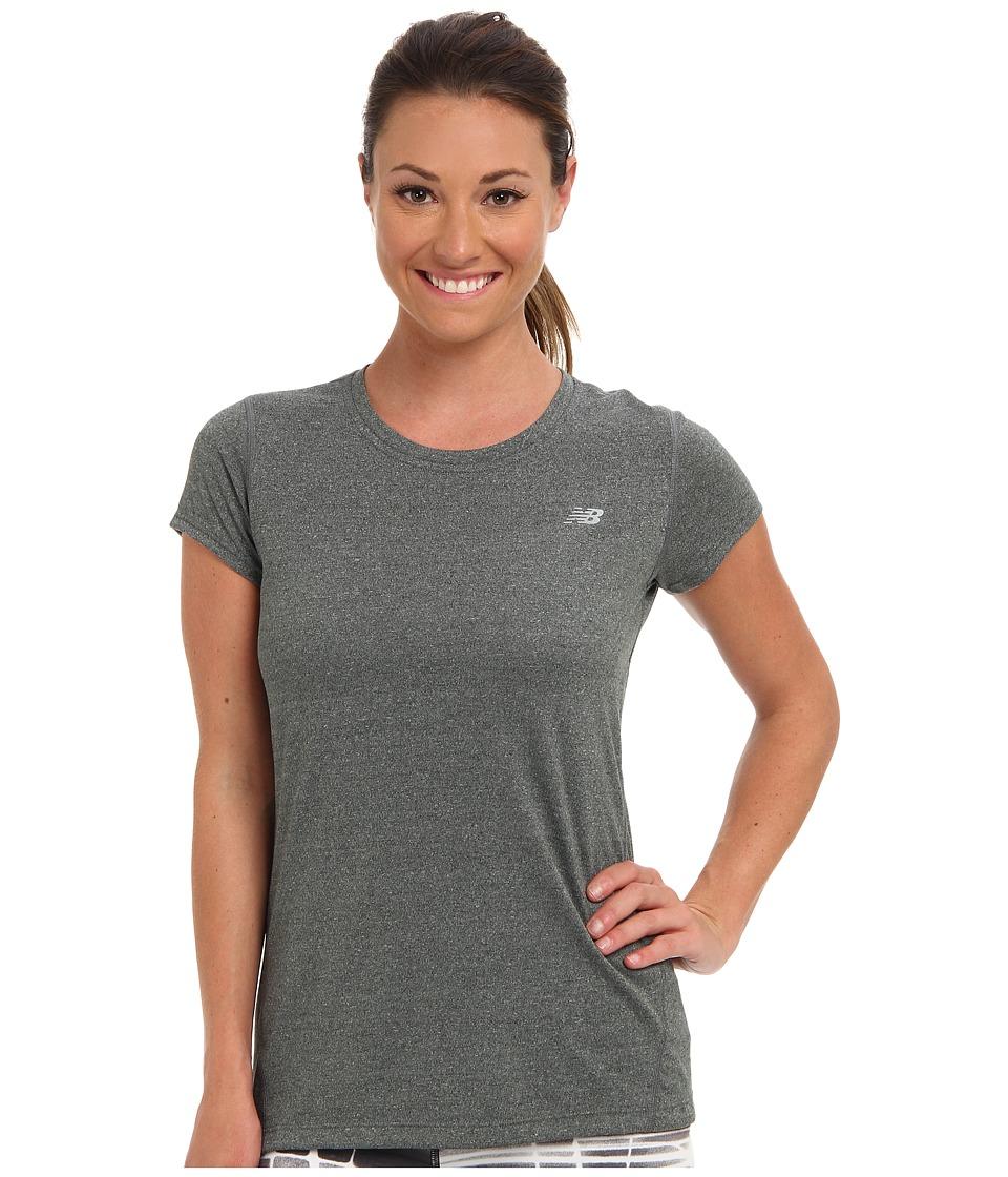 New Balance - Heathered Short Sleeve Top (Black) Women's Short Sleeve Pullover