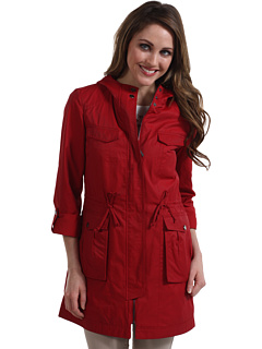 SALE! $196.99 - Save $198 on Cole Haan Four Pocket Cotton Rain Hooded Jacket (Red) Apparel - 50.13% OFF $395.00