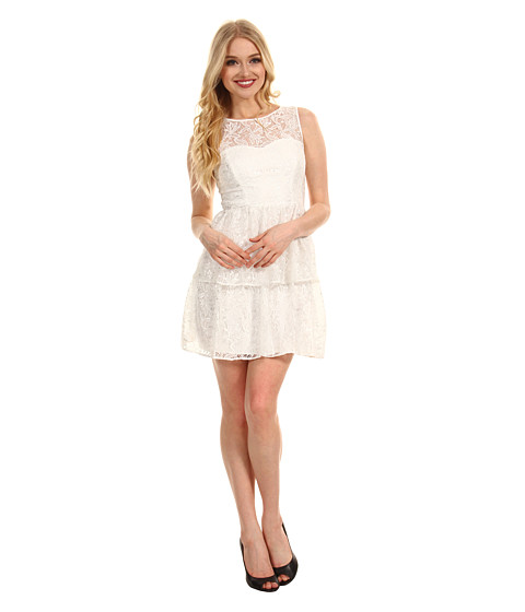 Max and Cleo - Rose Cut Out Lace Dress (White) Women