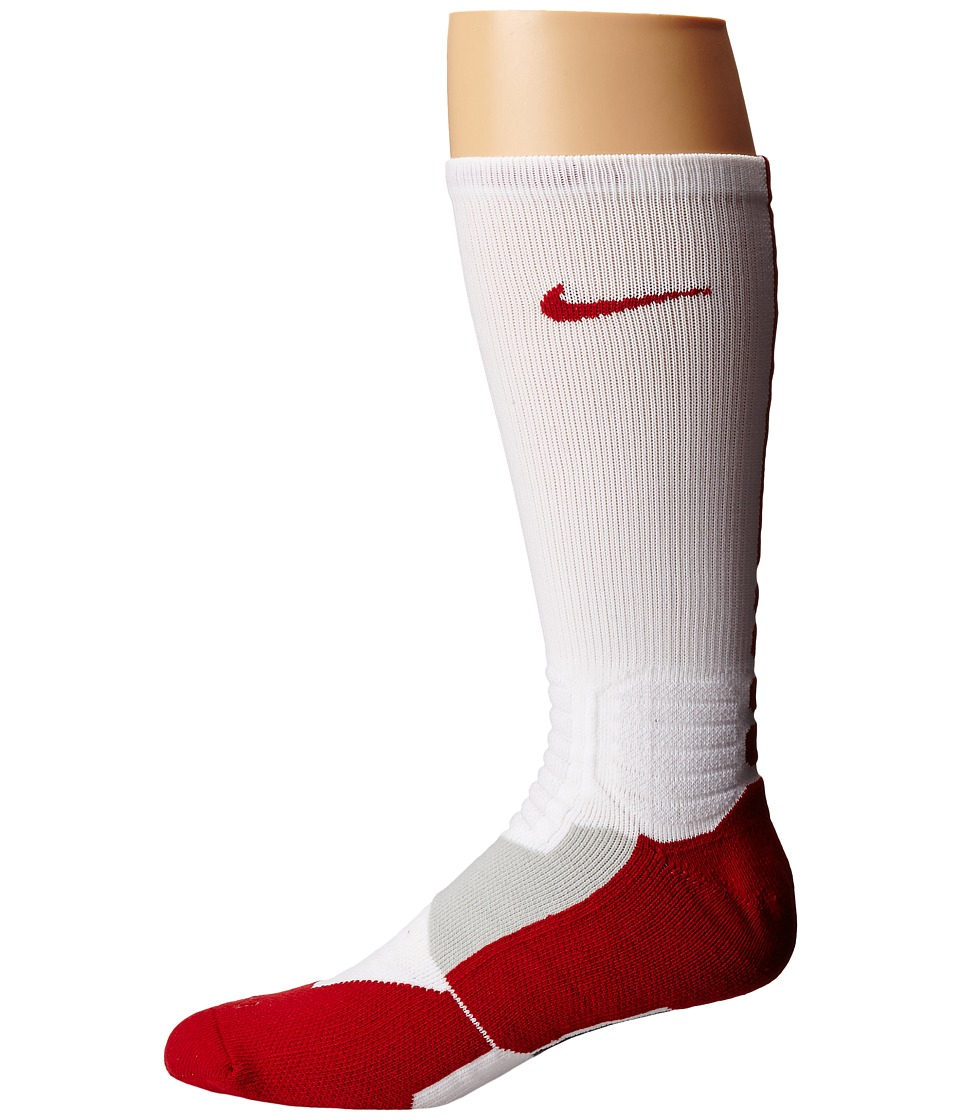 Nike - Hyperelite Basketball Crew (White/Varsity Red/Varsity Red) Men's Crew Cut Socks Shoes