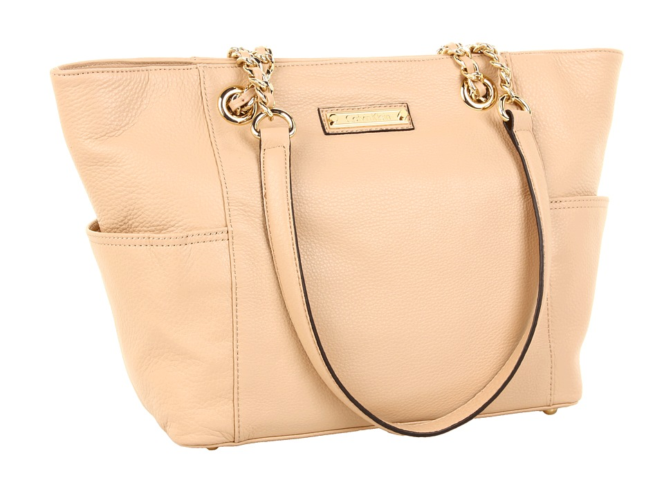 Calvin Klein - Key Item Leather Tote (Nude) Tote Handbags
